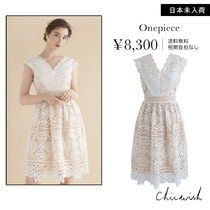 Chicwish Flower Patterns Sleeveless V-Neck Medium Dresses
