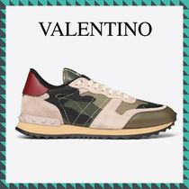 VALENTINO Casual Style Studded Leather Low-Top Sneakers