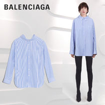 BALENCIAGA Stripes Long Sleeves Cotton Medium Office Style Oversized