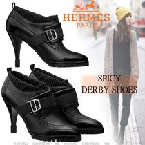 HERMES Studded Street Style Leather Elegant Style Shoes