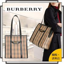 Burberry Other Check Patterns Casual Style Canvas Blended Fabrics A4