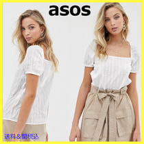 ASOS Stripes Casual Style Puffed Sleeves Cotton Shirts & Blouses