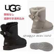UGG Australia MINI BAILEY BOW Round Toe Rubber Sole Casual Style Sheepskin Plain