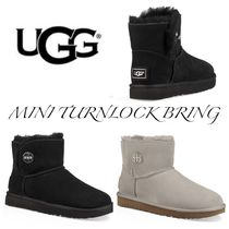 UGG Australia MINI BAILEY BOW Round Toe Casual Style Sheepskin Plain Wedge Boots