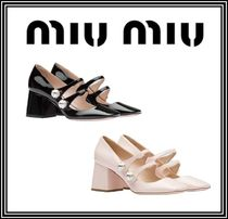 MiuMiu Square Toe Plain Leather With Jewels Elegant Style