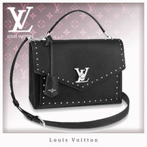 Louis Vuitton MY LOCKME  Studded 2WAY Plain Leather Party Style Shoulder Bags