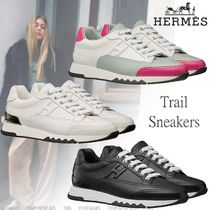 HERMES Street Style Leather Low-Top Sneakers