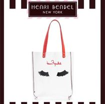 Henri Bendel Stripes Casual Style A4 Crystal Clear Bags Office Style