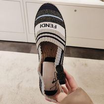 FENDI Stripes Casual Style Summer Sweaters Logo Low-Top Sneakers