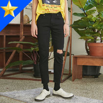 OPEN THE DOOR Unisex Street Style Plain Cotton Skinny Fit Pants
