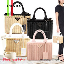 PRADA Casual Style Canvas Blended Fabrics 2WAY Totes