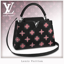 Louis Vuitton CAPUCINES Flower Patterns Studded 2WAY Bi-color Leather Party Style