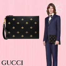GUCCI Star Street Style Other Animal Patterns Leather Clutches