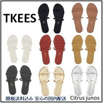 TKEES Open Toe Casual Style Plain Leather Flip Flops Flat Sandals