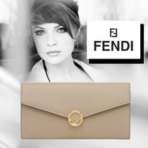 FENDI Plain Leather Long Wallets