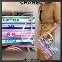 CHANEL ICON Stripes Unisex Bag in Bag 2WAY Bi-color Chain Clutches