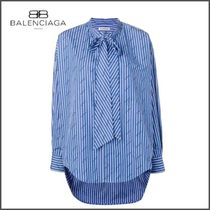 BALENCIAGA Stripes Street Style Long Sleeves Cotton Medium Oversized