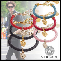 VERSACE Street Style Plain Leather Bracelets