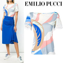 Emilio Pucci Casual Style Medium Short Sleeves Lace Shirts & Blouses