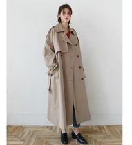 DAILYMONDAY Stand Collar Coats Casual Style Plain Long Midi Oversized