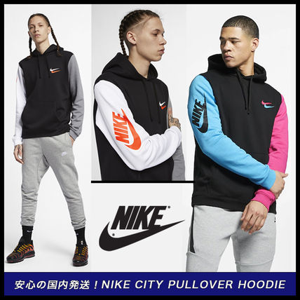 super popular 1d495 fa1bd Nike 2019 SS Unisex Sweat Street Style Long Sleeves Logos on the Sleeves  (Nike City Brights Pullover Hoodie)
