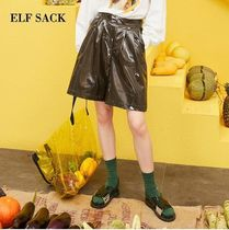 ELF SACK Casual Style Faux Fur Leather & Faux Leather Pants