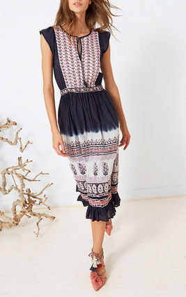 Casual Style Maxi Tassel Sleeveless Cotton Long Dresses