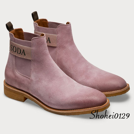 Plain Toe Suede Street Style Plain Chelsea Boots Handmade