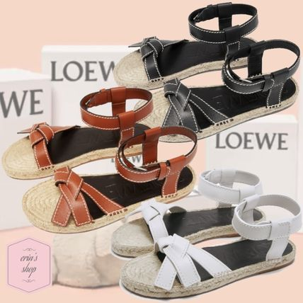 Open Toe Casual Style Blended Fabrics Plain Leather Sandals