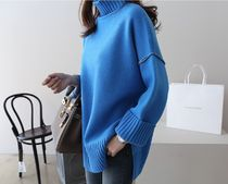 Cable Knit Casual Style Sweat Long Sleeves Plain Knitwear