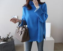 Cable Knit Casual Style Sweat Long Sleeves Plain Sweaters