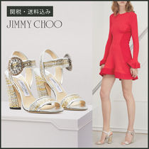 Jimmy Choo Other Check Patterns Open Toe Tweed Block Heels Party Style