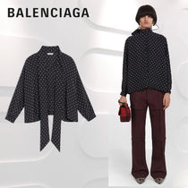 BALENCIAGA Dots Casual Style Silk Long Sleeves Medium Shirts & Blouses