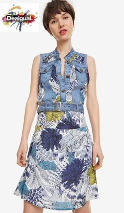 Flower Patterns Casual Style Denim Sleeveless Medium Dresses