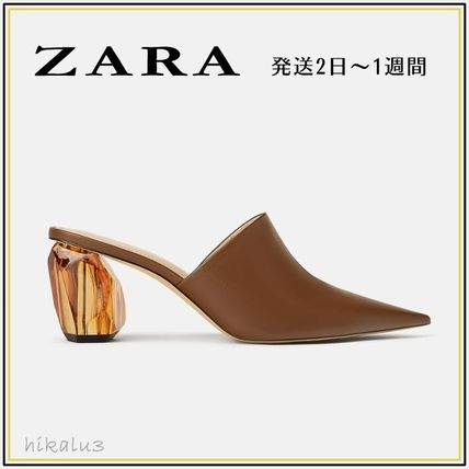 a88aa958981 ZARA 2019 SS Leather Elegant Style Heeled Sandals by hikalu3 - BUYMA
