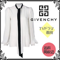 GIVENCHY Silk Long Sleeves Plain Office Style Shirts & Blouses