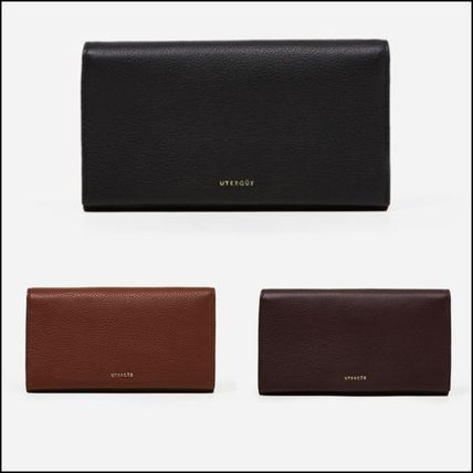 Plain Leather Bold Long Wallets