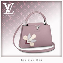 Louis Vuitton CAPUCINES Flower Patterns Casual Style 2WAY Leather Handbags