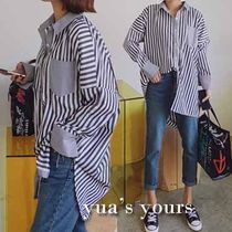 Stripes Casual Style Bi-color Cotton Long Oversized