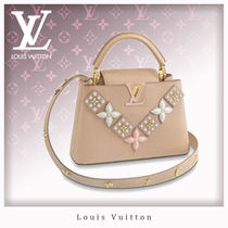 Louis Vuitton CAPUCINES Flower Patterns Casual Style Studded 2WAY Leather Handbags