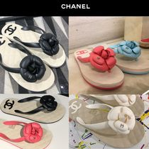CHANEL Blended Fabrics Plain Elegant Style Sandals