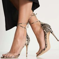 ALDO Open Toe Plain Leather Pin Heels Python Elegant Style
