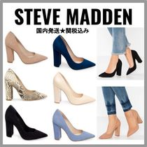Steve Madden Plain Leather Block Heels Python Block Heel Pumps & Mules