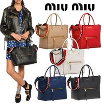 MiuMiu A4 2WAY Plain Leather Elegant Style Logo Totes