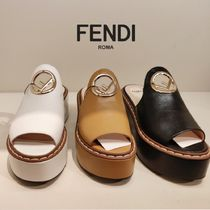 FENDI Open Toe Platform Casual Style Leather