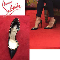 Christian Louboutin Studded Plain Leather Pin Heels Elegant Style