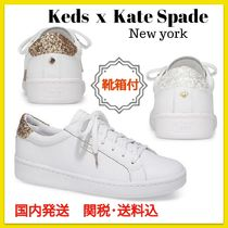 kate spade new york Round Toe Rubber Sole Lace-up Casual Style Street Style