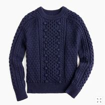J Crew Crew Neck Cable Knit Casual Style Wool Long Sleeves Knitwear