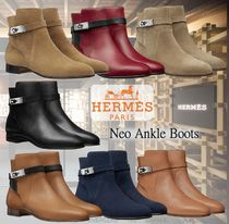 HERMES Street Style Leather Elegant Style Ankle & Booties Boots