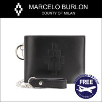 Marcelo Burlon Street Style Chain Plain Leather Folding Wallets